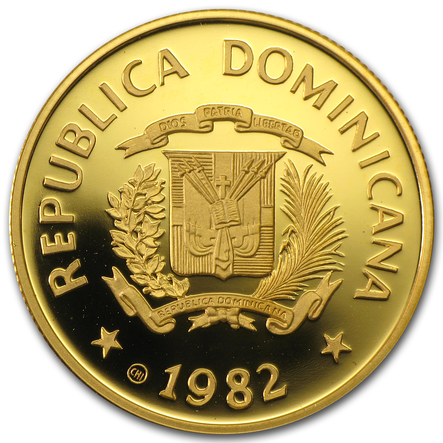 1982 Dominican Republic Gold 200 Pesos Children Proof